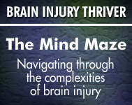 Deep violet graphic promoting and linking to the Mind Maze Brain Injury Blog.
